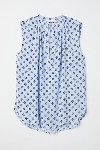 Sleeveless blouse - Light blue/Patterned - Ladies | H&M