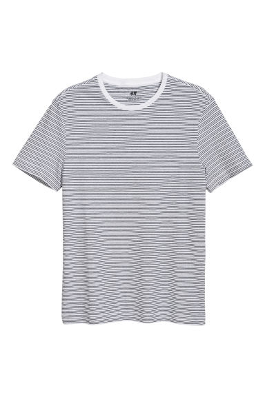 T-shirt Regular fit - White/Black striped - Men | H&M