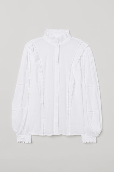 Lace-embroidered blouse - White -  | H&M