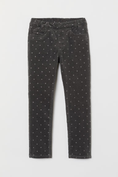 Corduroy treggings - Dark grey/Stars - Kids | H&M