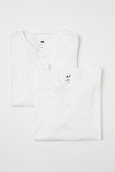 Set van 2 henleyshirts - Wit - HEREN | H&M BE