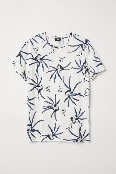 Cotton T-shirt - White/Flowers - Men | H&M