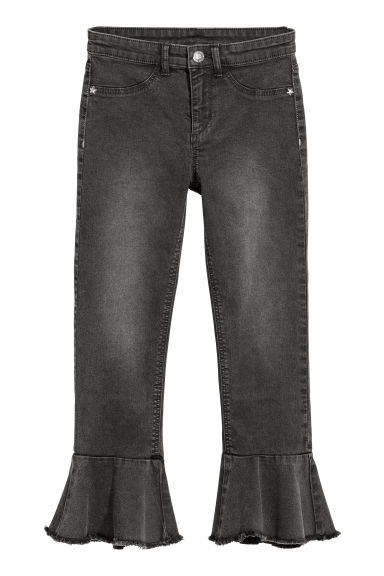 Ankle-length flounced trousers - Black washed out - Kids | H&M