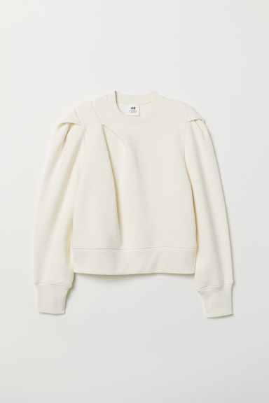 Short sweatshirt - Natural white -  | H&M