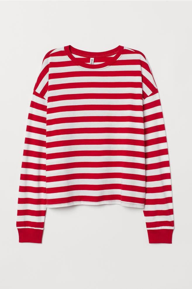f500f93ffd Striped jersey top - Red/White striped -   H&M ...
