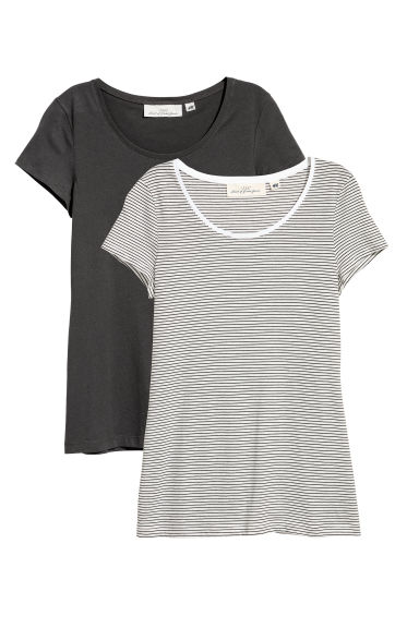 2-pack short-sleeved tops - Dark grey/Striped - Ladies | H&M CN