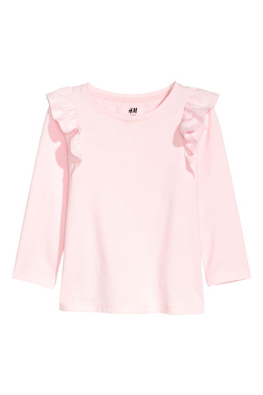 Frill-trimmed jersey top - Light pink - Kids | H&M CN