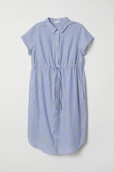 MAMA Short-sleeved blouse - Blue/White striped - Ladies | H&M