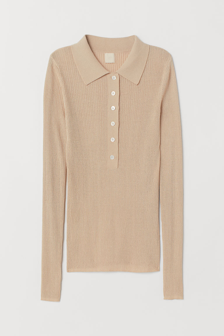 Top with a collar - Beige - Ladies | H&M