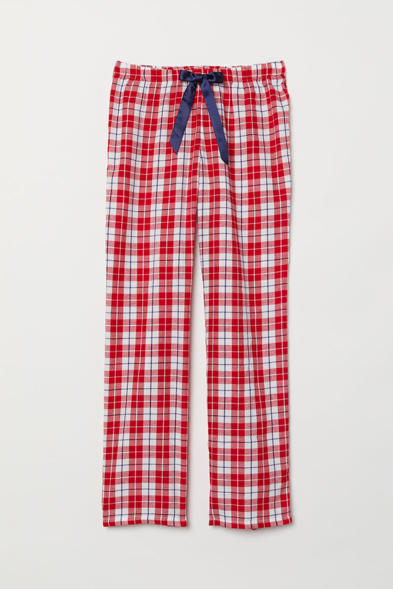 Flannel pyjama bottoms - Red/Checked - Ladies | H&M