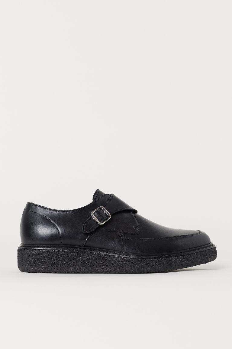 Leather monkstraps - Black - Men | H&M