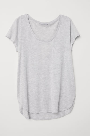 Jersey top - Light grey marl - Ladies | H&M CN