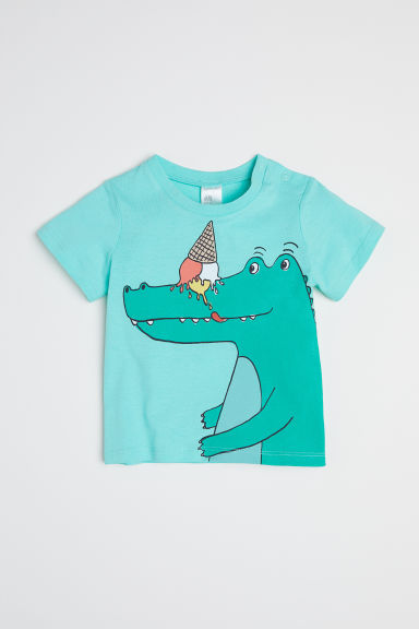 Cotton T-shirt - Mint green/Crocodile -  | H&M