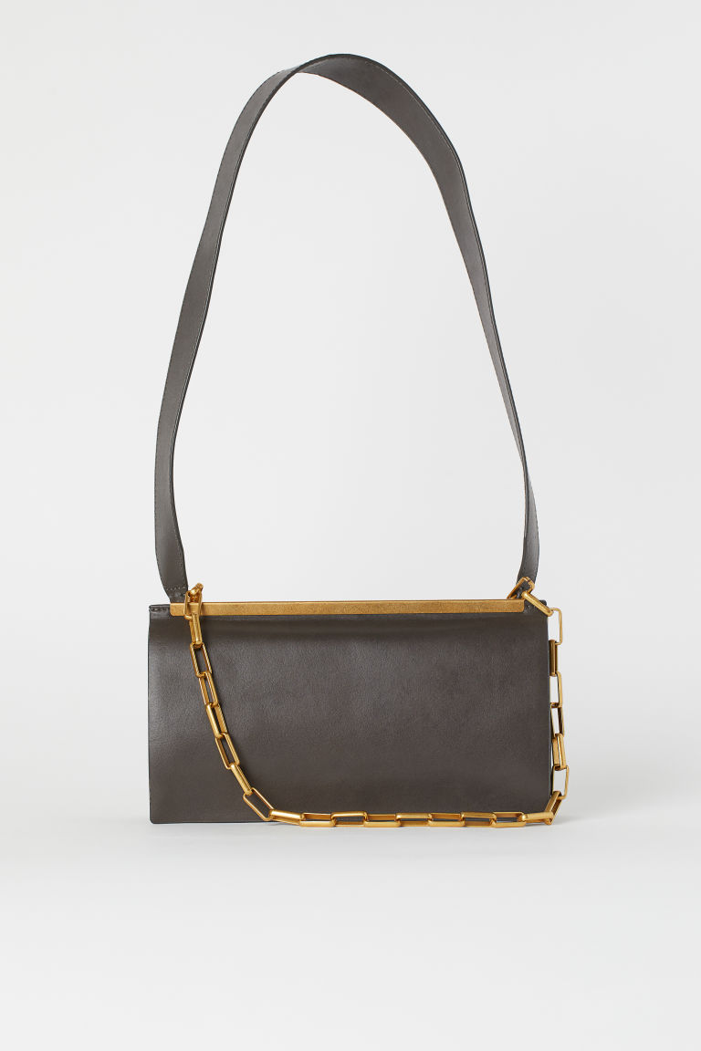 Leather shoulder bag - Dark grey - Ladies | H&M GB