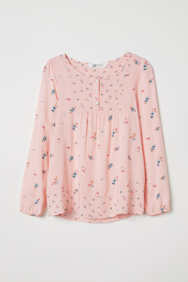 Patterned viscose blouse - Powder pink/Floral - Kids | H&M