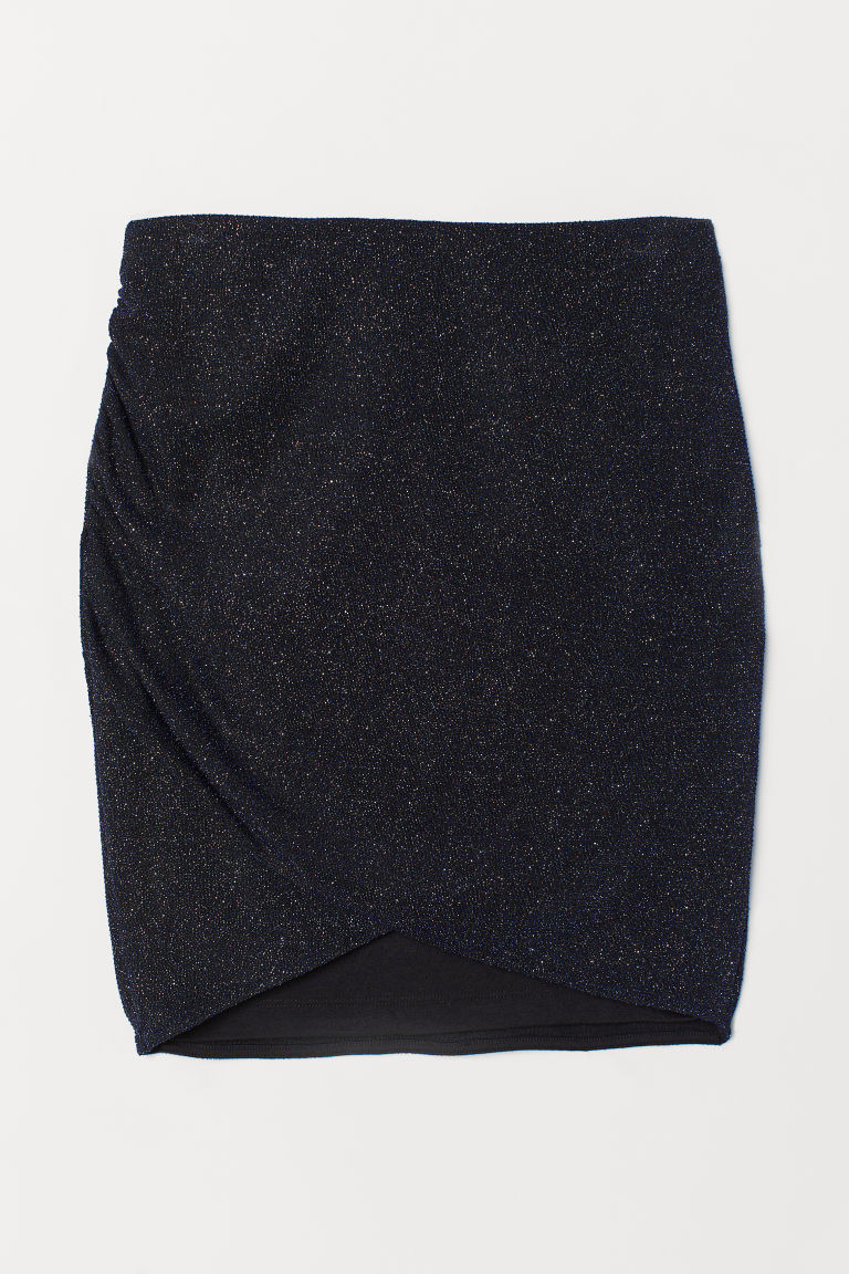 Short glittery skirt - Dark blue/Glittery -  | H&M