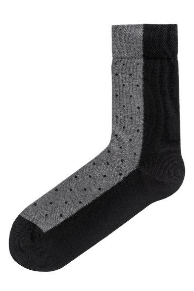 Jacquard-knit socks - Black/Grey -  | H&M