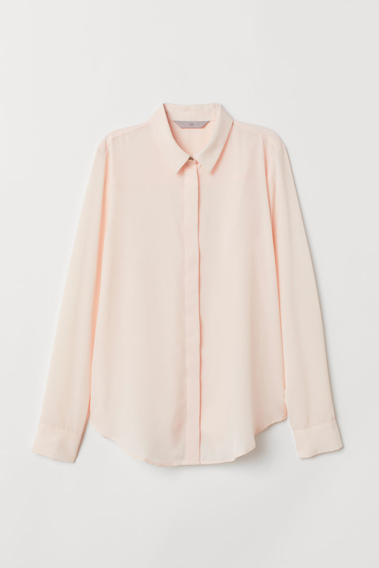 Long-sleeved blouse - Powder pink - Ladies | H&M
