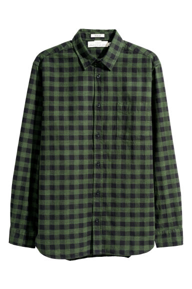 Flannel shirt Regular Fit - Dark green/Checked -  | H&M GB