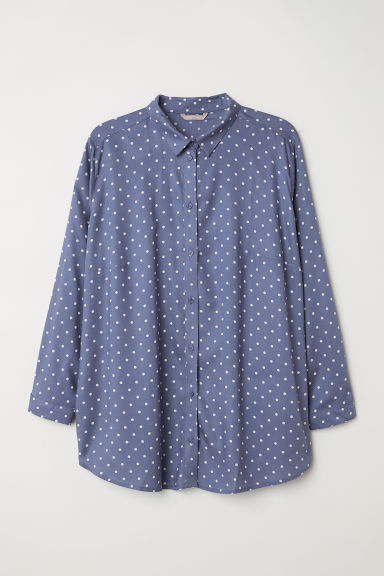 Viscose shirt - Steel blue/White spotted - Ladies | H&M