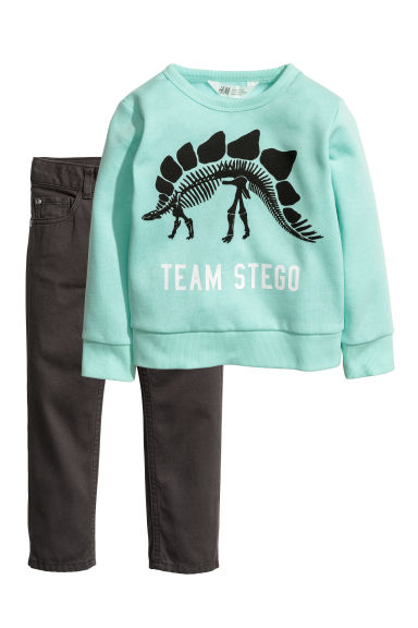 Sweatshirt and twill trousers - Mint green/Dinosaur - Kids | H&M CN