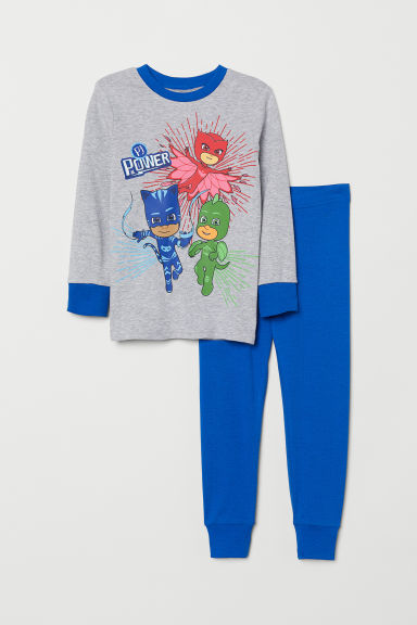 Jersey pyjamas - Grey marl/PJ Masks - Kids | H&M