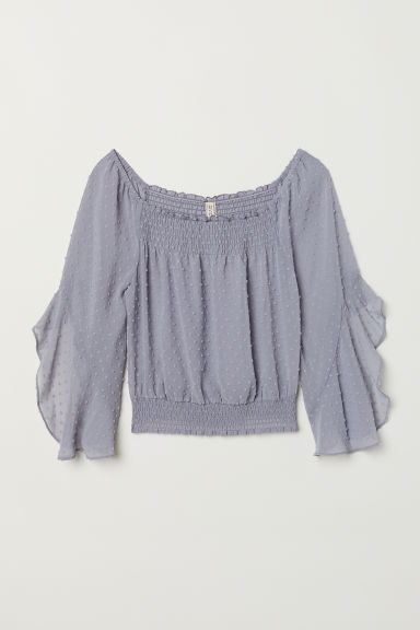 Off-the-shoulder blouse - Blue-grey -  | H&M