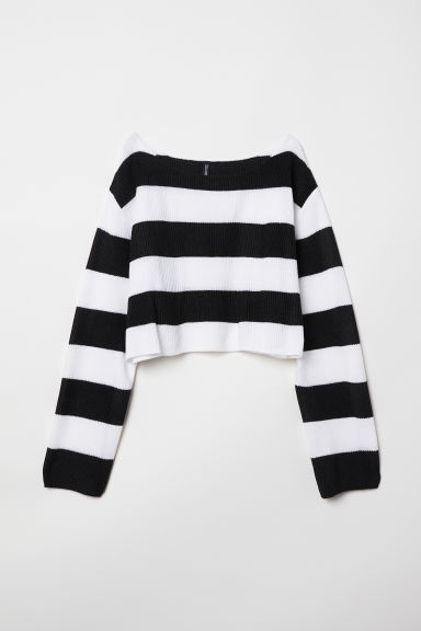 Striped top - Black/White striped - Ladies | H&M GB