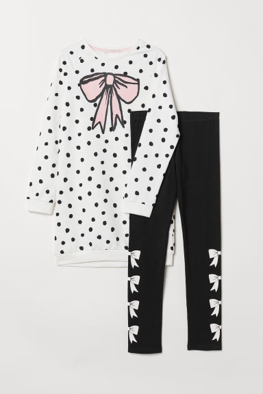 Sweatshirt and leggings - White/Spotted - Kids | H&M