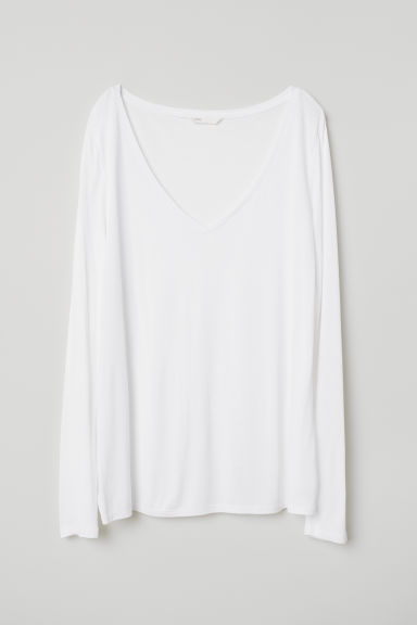V-neck jersey top - White - Ladies | H&M