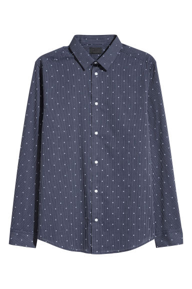 Spotted shirt Slim fit - Dark blue/White spotted -  | H&M IE