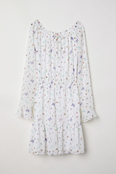 Flounced dress - White/Butterflies -  | H&M CN