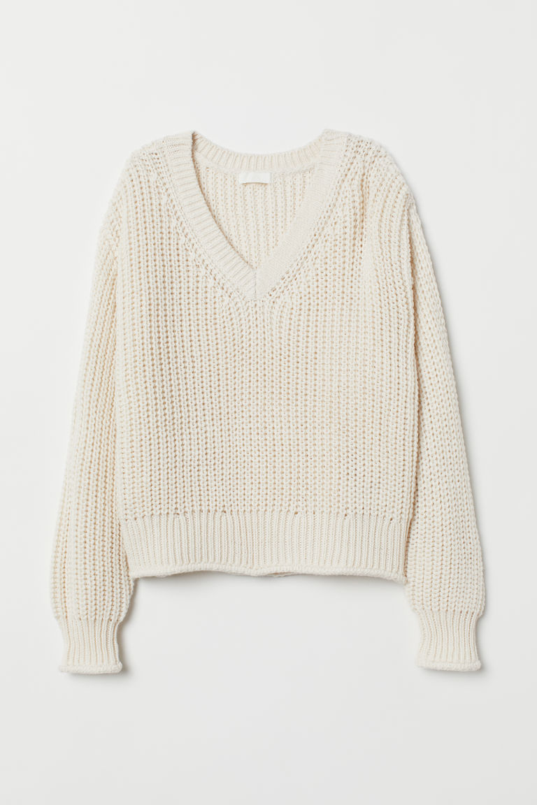 Knitted jumper - Natural white - Ladies | H&M