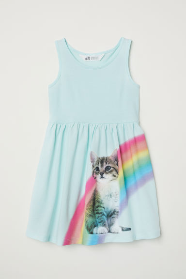 Sleeveless jersey dress - Light turquoise/Cat - Kids | H&M GB