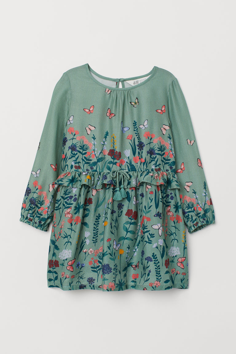 Patterned dress - Dusky green/Butterflies -  | H&M
