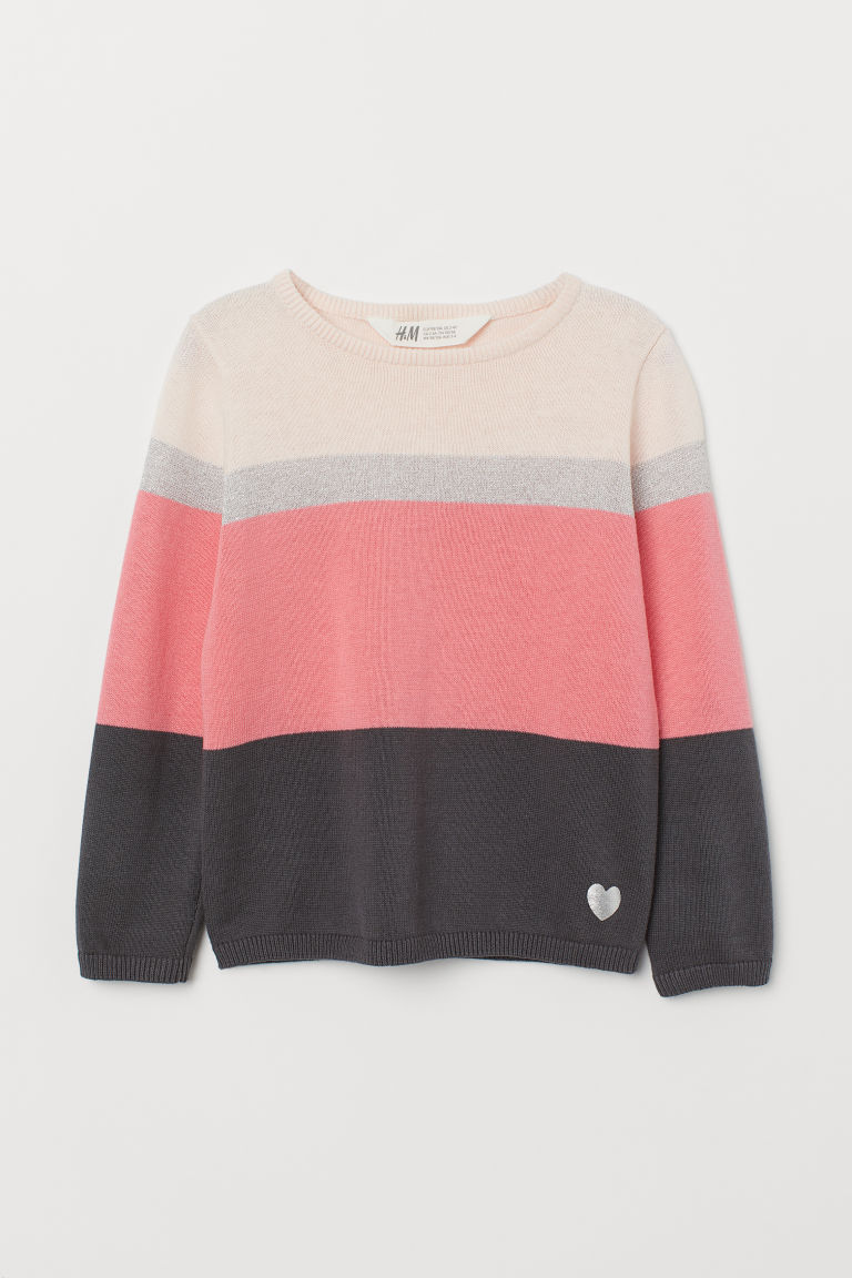 Fine-knit jumper - Pink/Striped - Kids | H&M CN