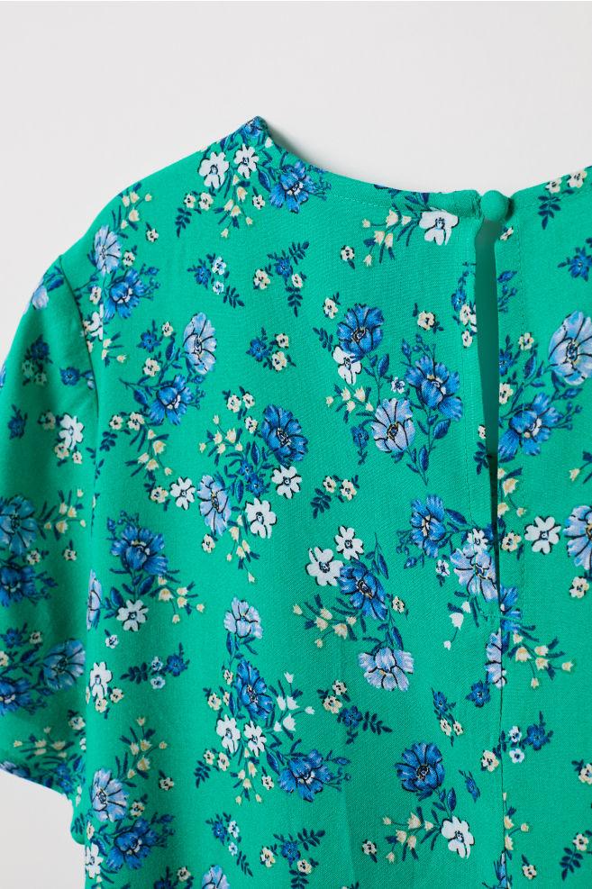 2fa29c1dd7c325 Gedessineerde jurk van viscose - Groen bloemen - DAMES