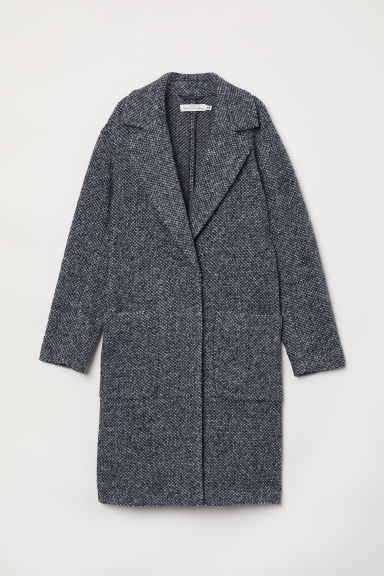 Knitted wool-blend coat - Dark blue - Ladies | H&M