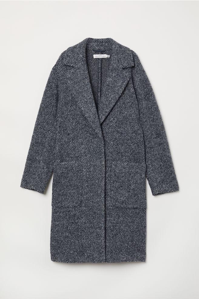 9e7ffc692d4 Abrigo en mezcla de lana - Azul oscuro - MUJER | H&M ...