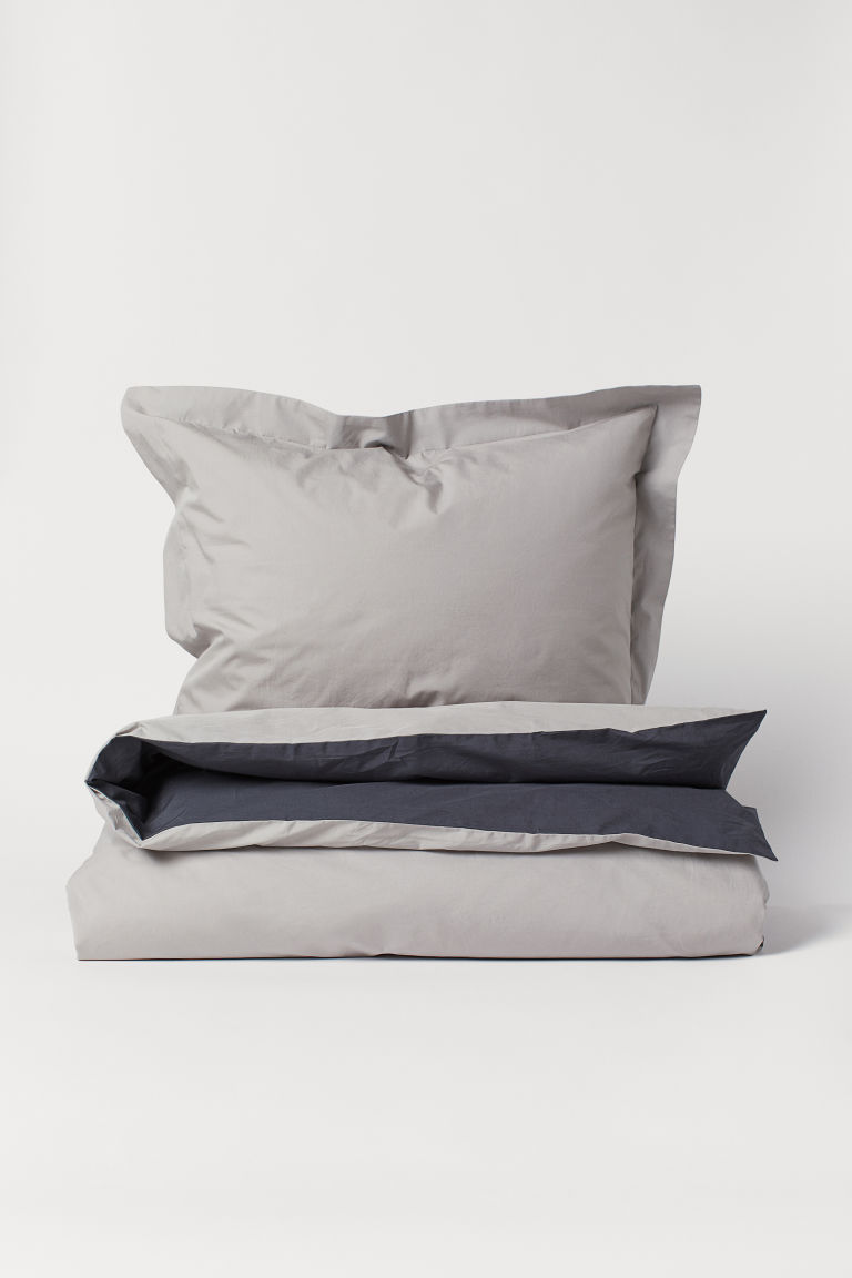Cotton poplin duvet cover set - Light mole - Home All | H&M CN
