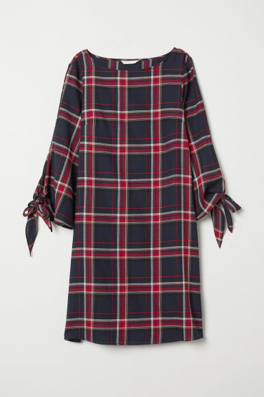 Crêpe dress - Dark blue/Checked - Ladies | H&M