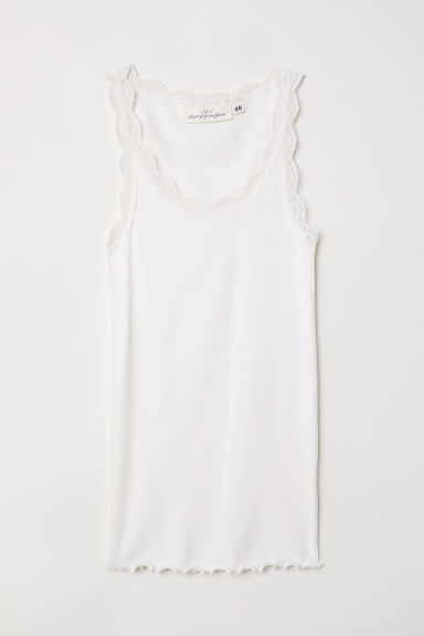 Ribbed vest top with lace - White - Ladies | H&M