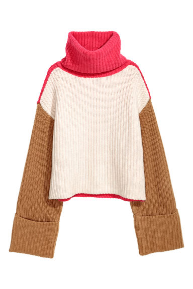 Wide polo-neck jumper - White/Pink/Camel -  | H&M