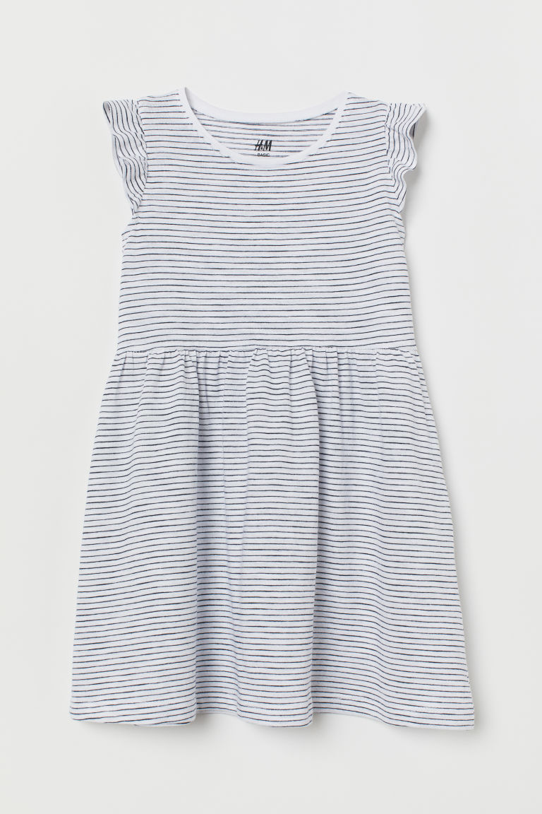 Jersey dress - White/Blue striped - Kids | H&M