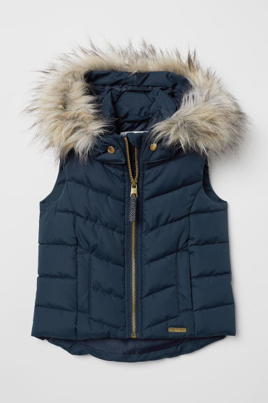 Padded gilet with a hood - Dark blue - Kids | H&M