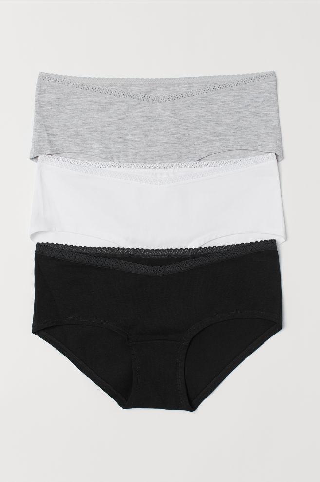 dc32b4c3b735 MAMA 3-pack hipster briefs - Light grey marl/White - Ladies   H&M IE