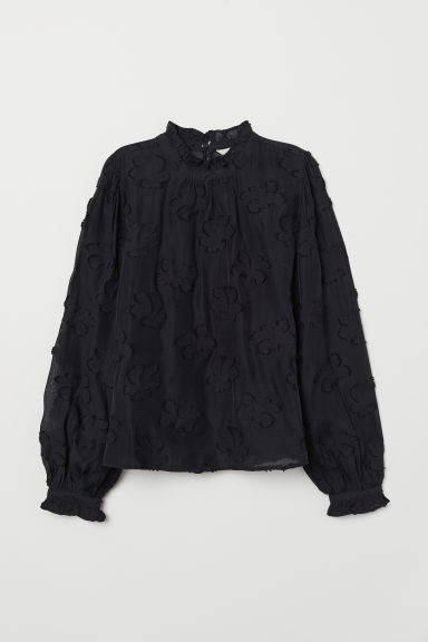 Jacquard-weave blouse - Black - Ladies | H&M CN