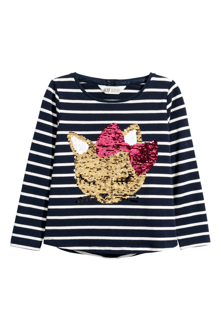 Jersey top with sequined motif - Dark blue striped/Cat - Kids | H&M