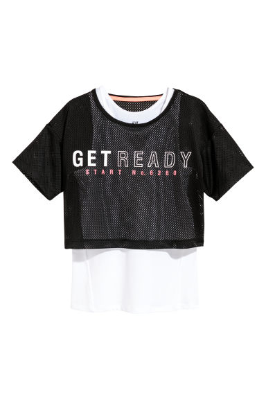 Double-layered sports top - Black/White -  | H&M CN