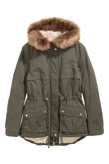 Pile-lined parka - Dark khaki green -  | H&M IE